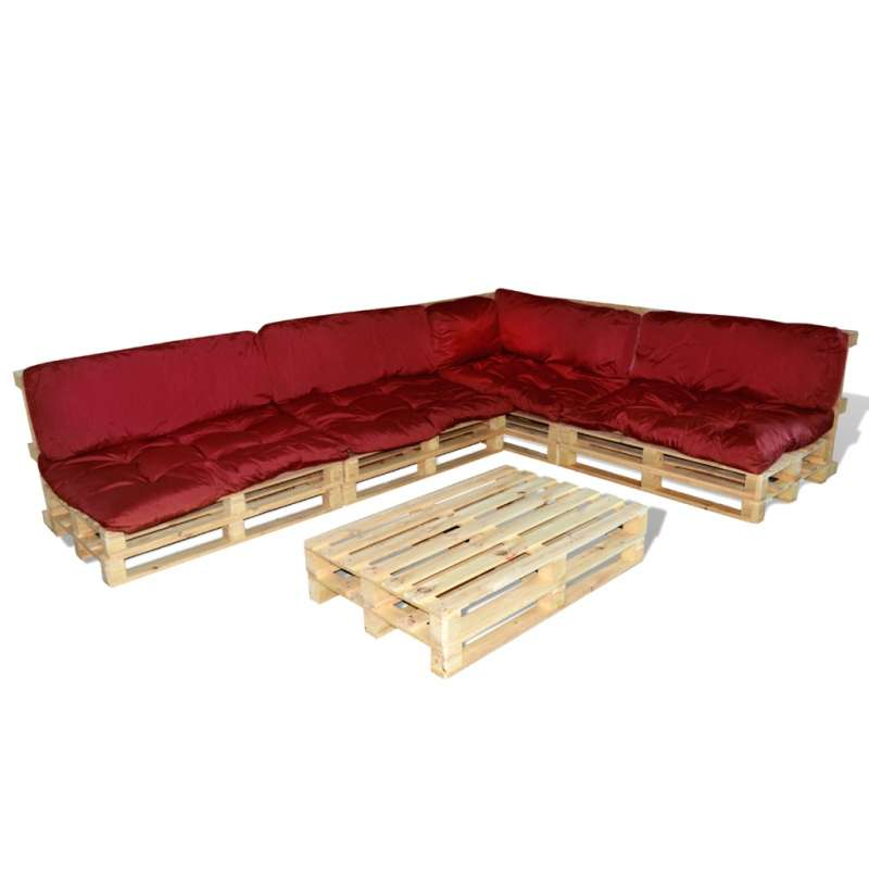Ensemble salon de jardin en palette coussins rouge inclus